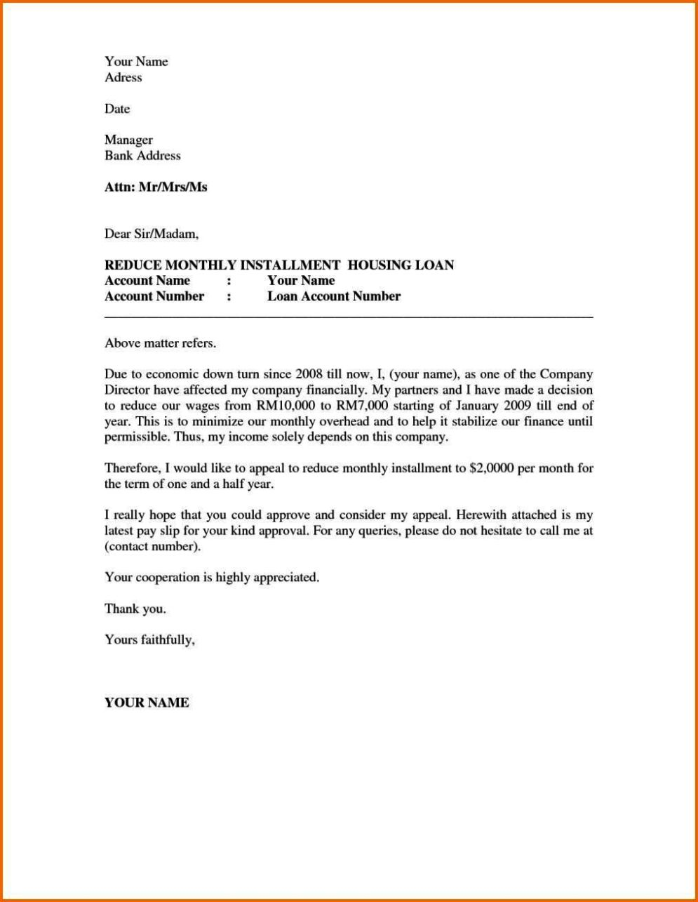 Housing Appeal Letter - Sampletemplatess