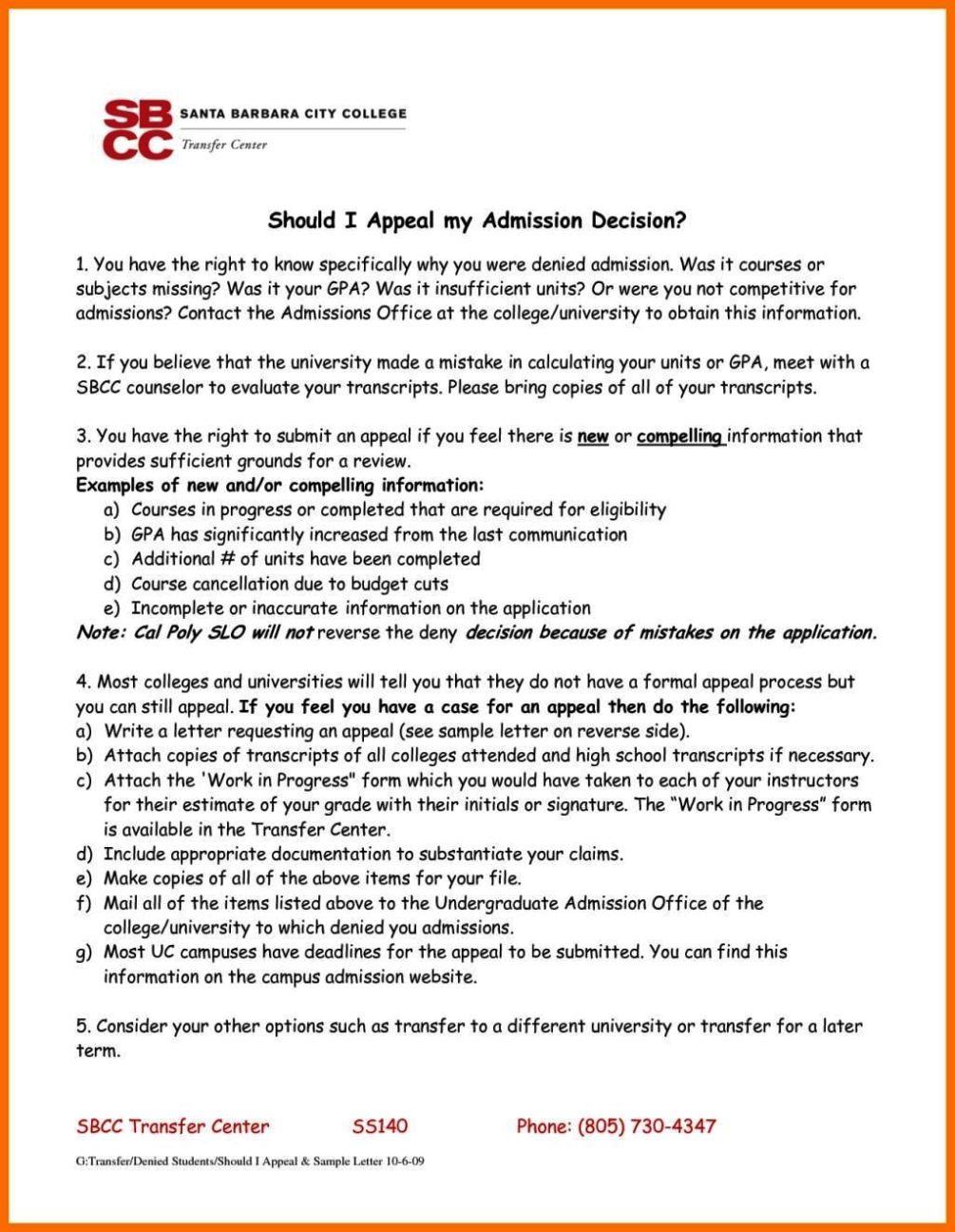 Letter of Admission