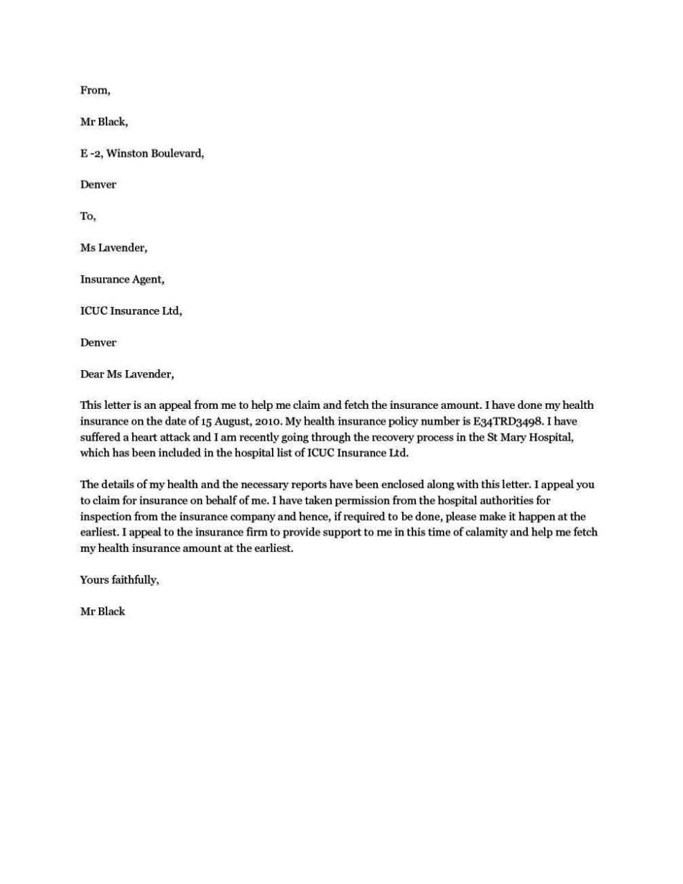 How To Write Appeal Letter To Health Insurance Company ...
