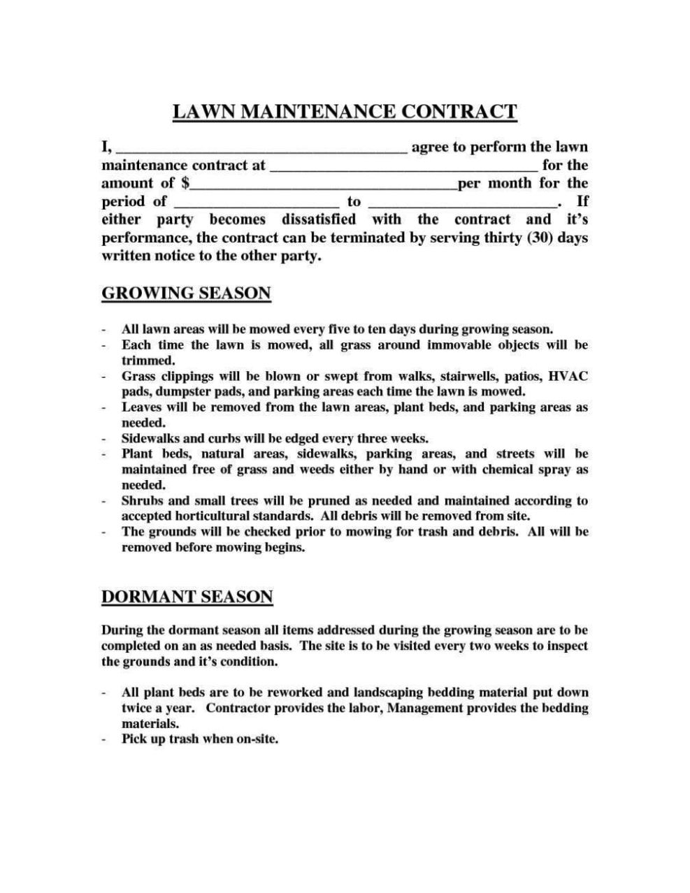 landscape maintenance contract template - sampletemplatess
