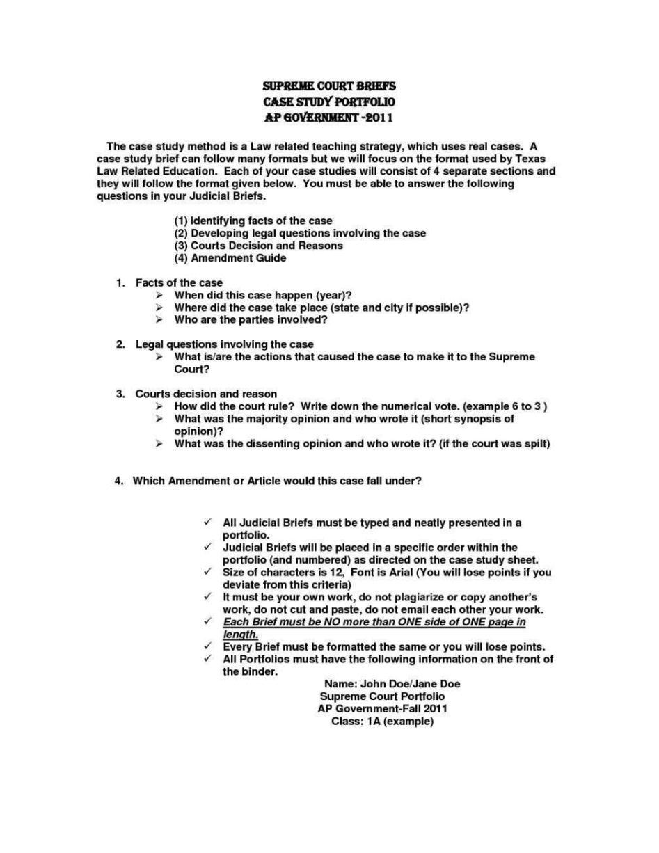 Law School Case Brief Template - SampleTemplatess ...