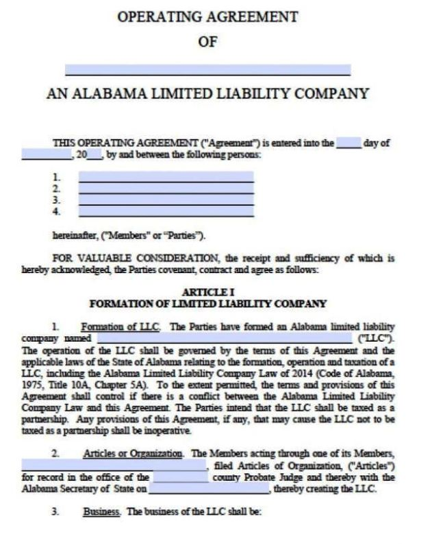 limited liability company operating agreement template. Black Bedroom Furniture Sets. Home Design Ideas
