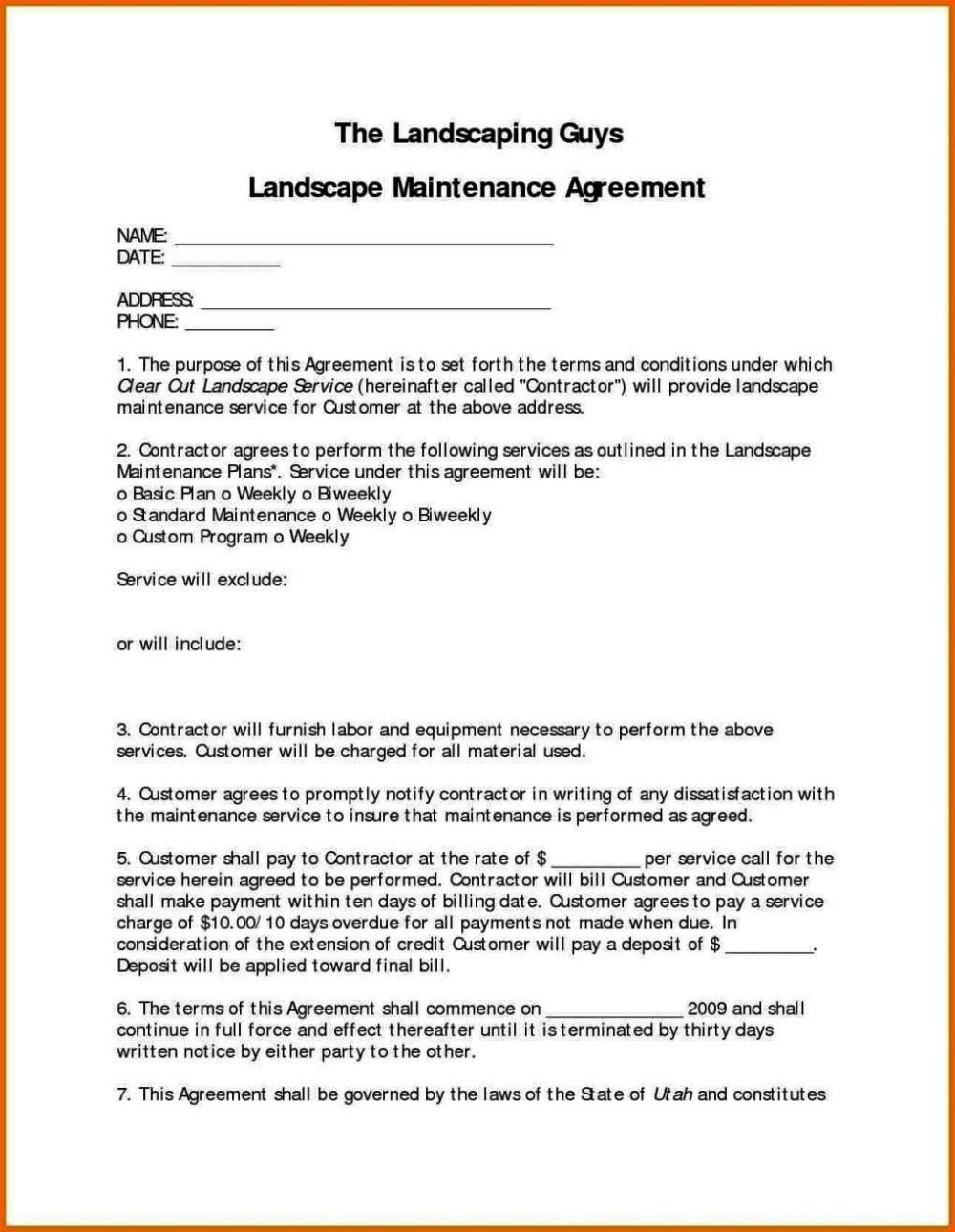 Maintenance Service Contract Template Sampletemplatess