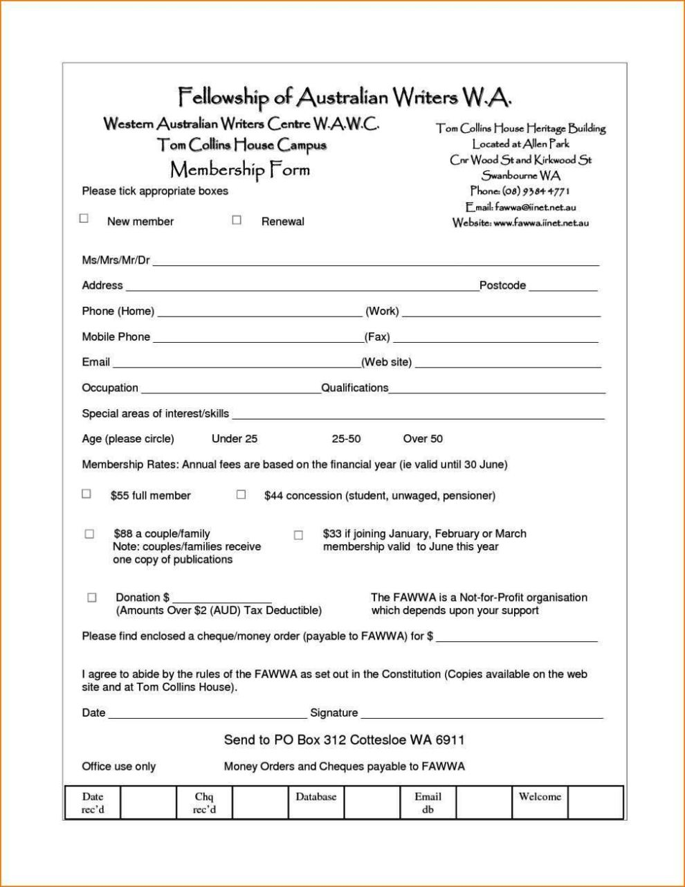 membership form template doc membership application form template word