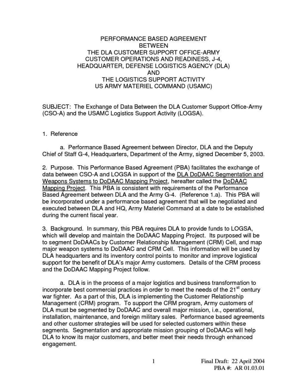 memorandum of agreement template army