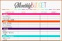 Monthly Budget Plan Template