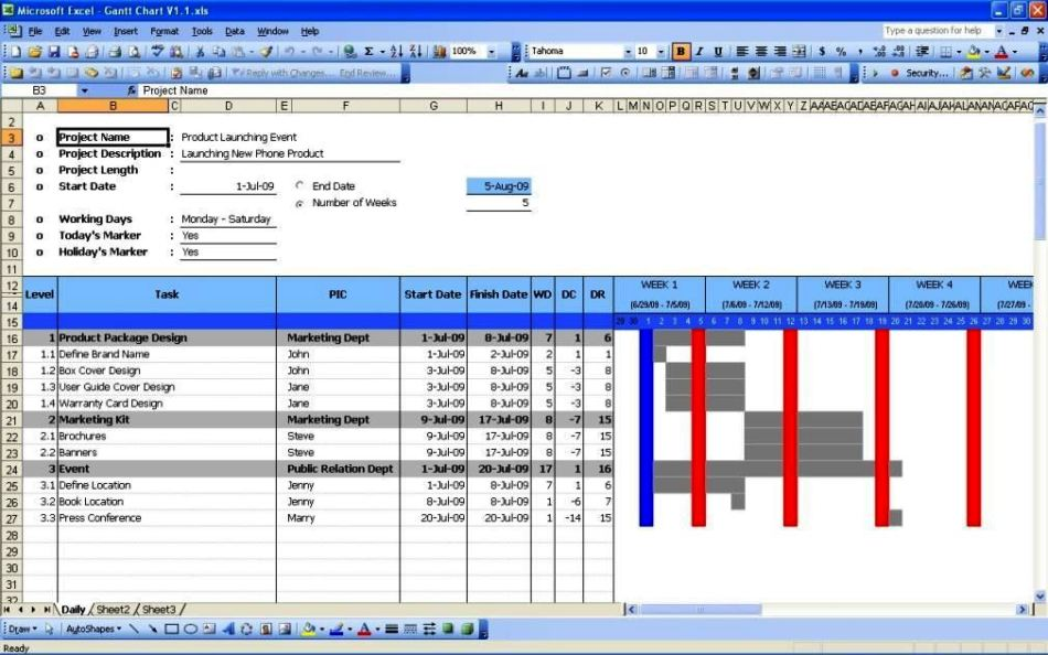 Ms Excel Gantt Chart Template Free Download ...