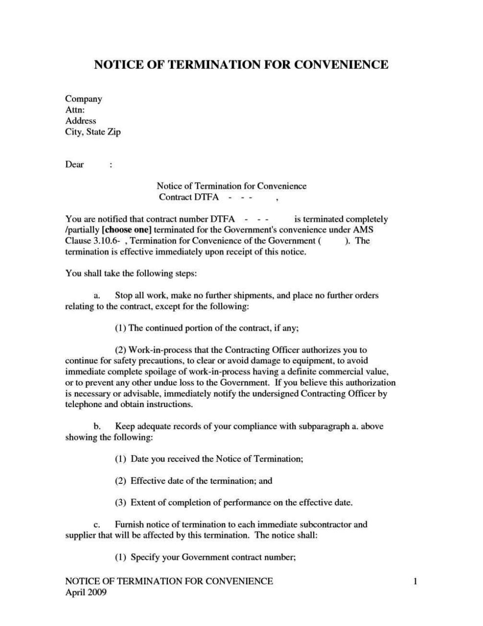 Notice Of Termination Of Contract Letter Template