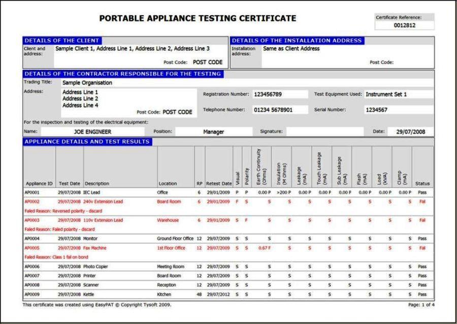 pat testing record sheet template