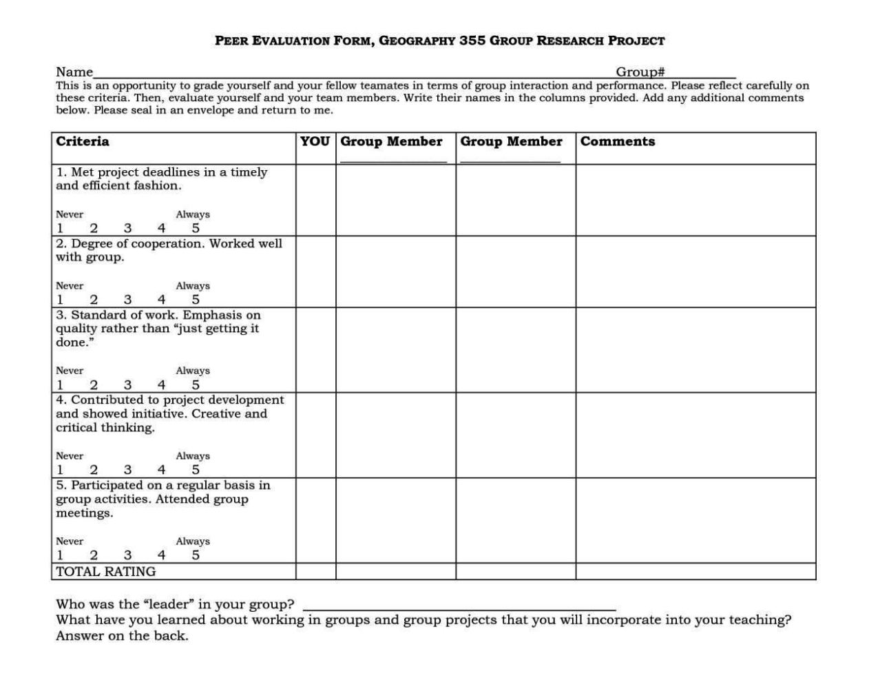 peer assessment template - sampletemplatess