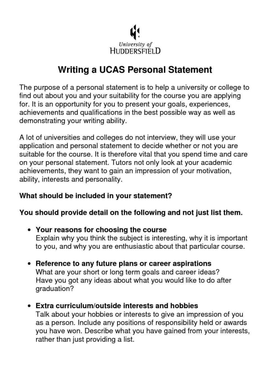 Samples of a personal statement