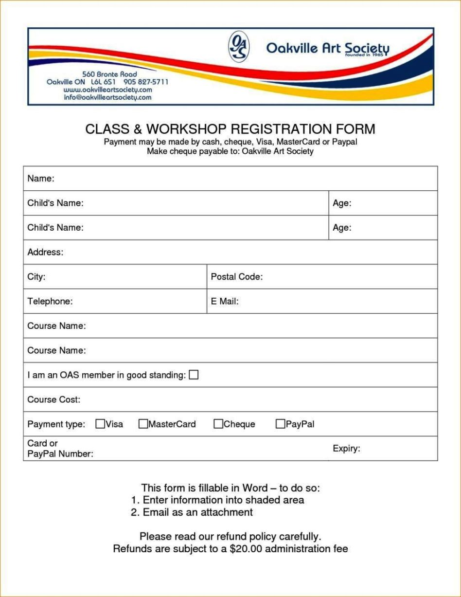 registration form template excel - sampletemplatess