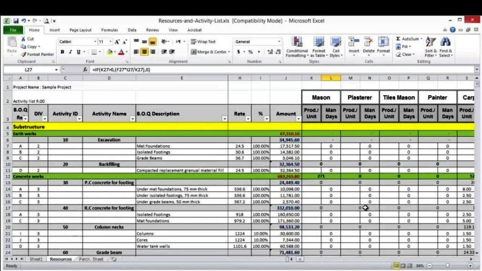 resource forecasting excel template