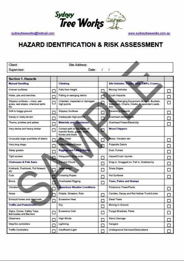risk assessment template australia - sampletemplatess