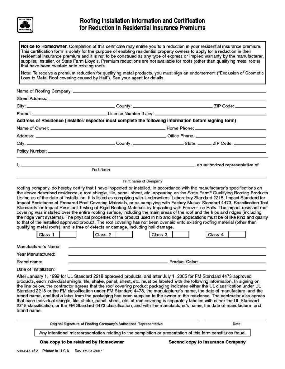 Roof Certification Form Template - SampleTemplatess ...