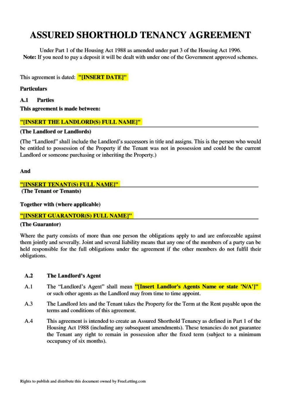 short assured tenancy agreement template