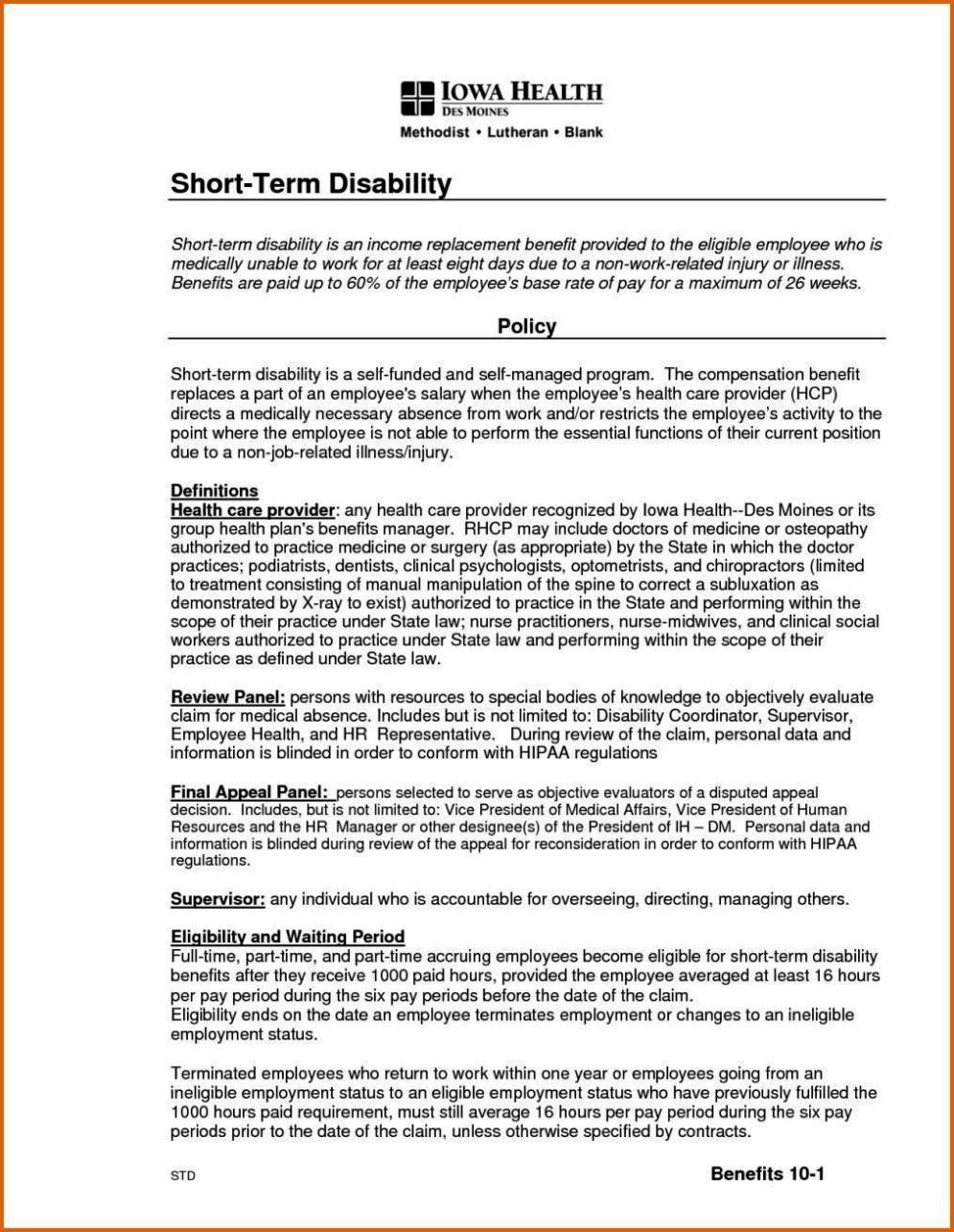 short term disability appeal letter