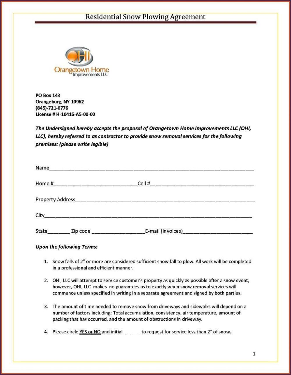 Snow Removal Contract Template - SampleTemplatess ...