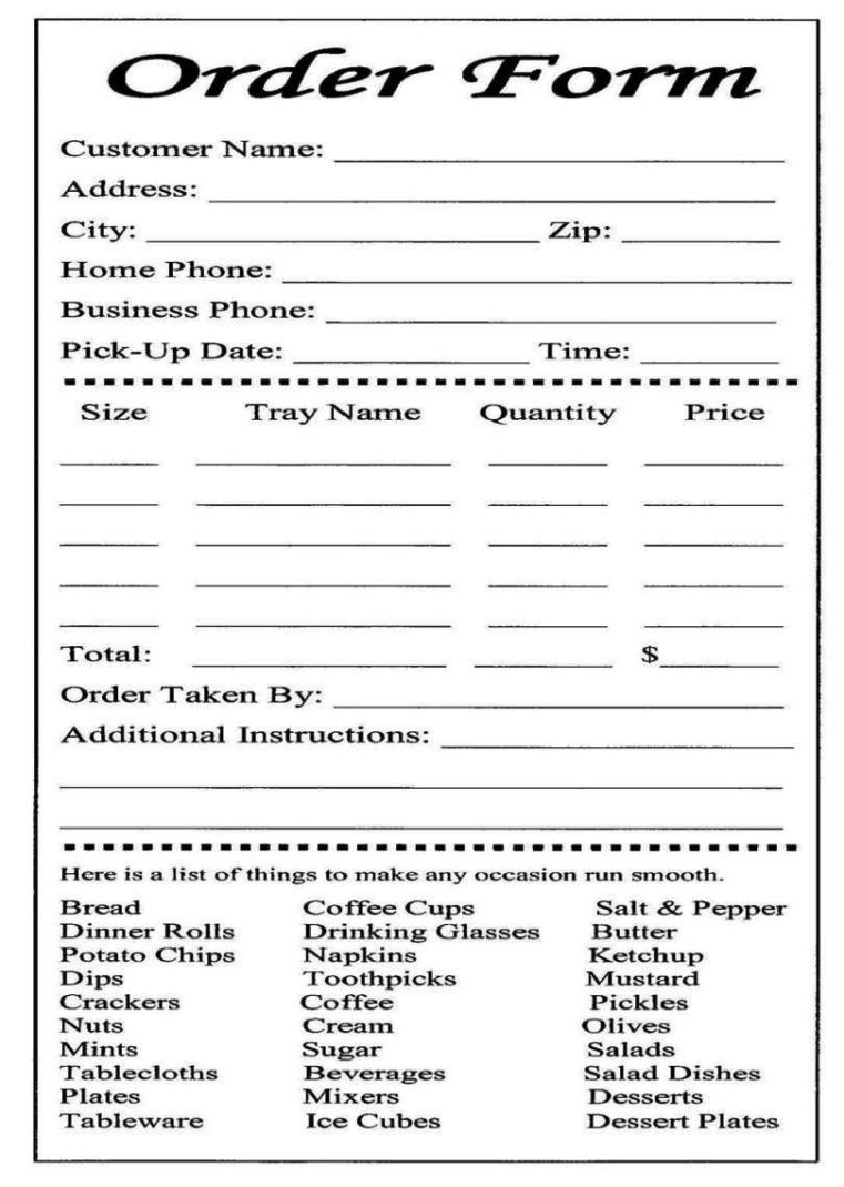 special order form template