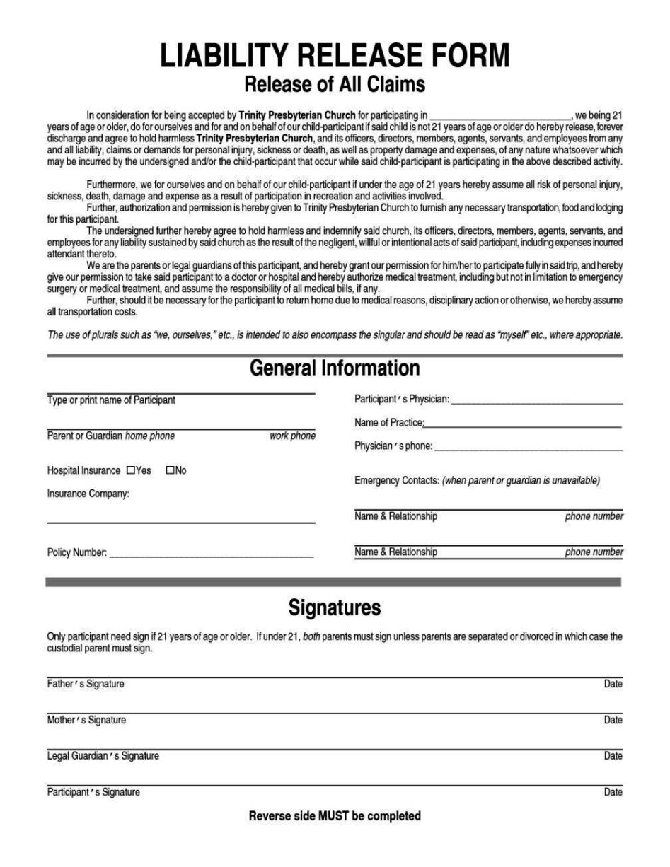 Sports Liability Waiver Form Template Sampletemplatess