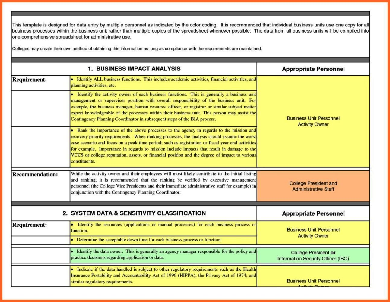 system impact analysis template