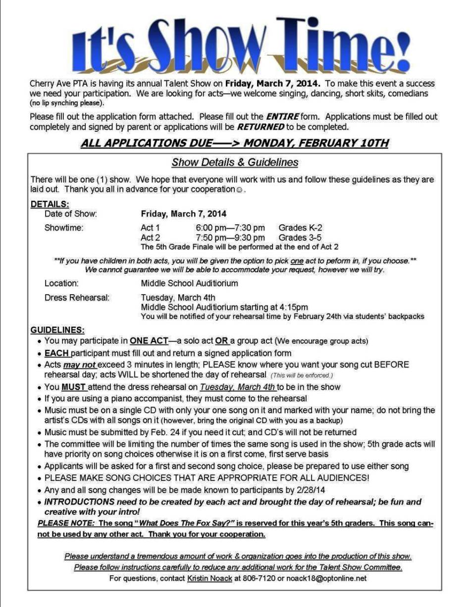 talent show registration form template