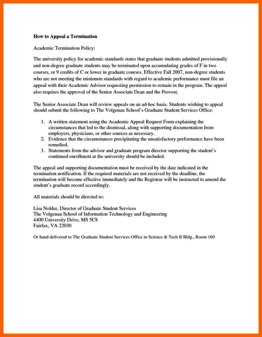 termination appeal letter