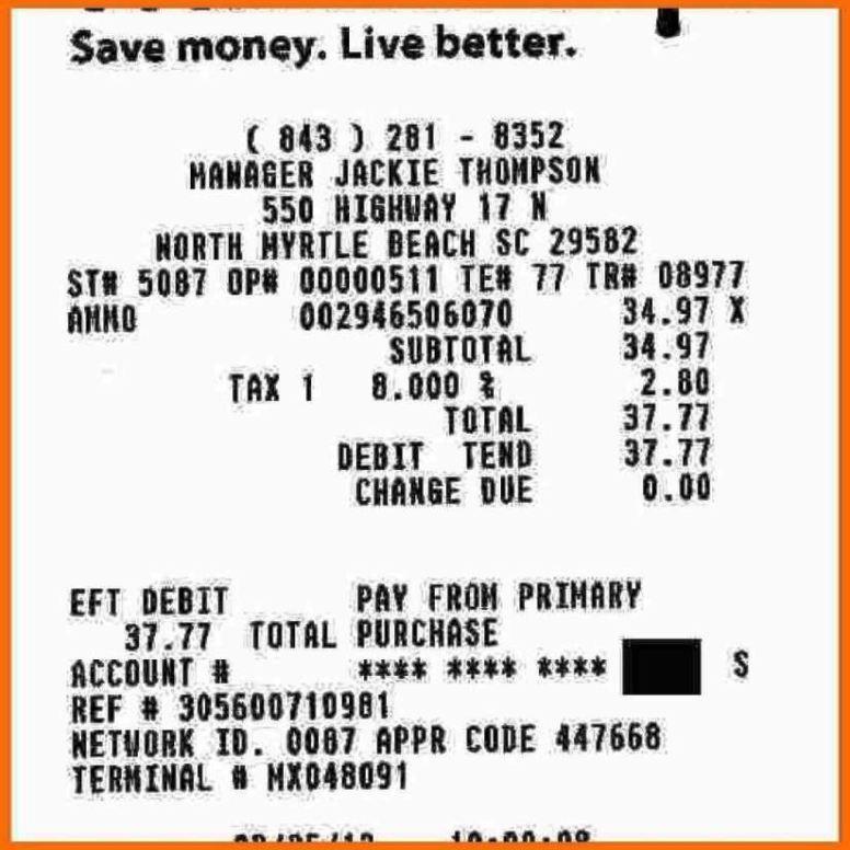 Walmart Receipt Template - SampleTemplatess - SampleTemplatess