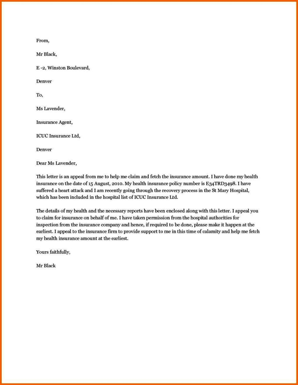writing an appeal letter to health insurance company - sampletemplatess