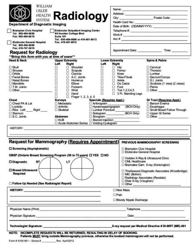 X-Ray-Request-Form-Template X Ray Order Form Template on finger number, dexis adding, technique chart,