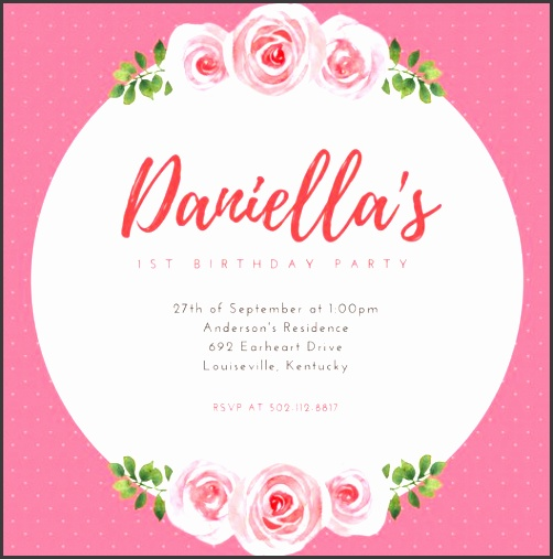pink floral 1st birthday party invitation