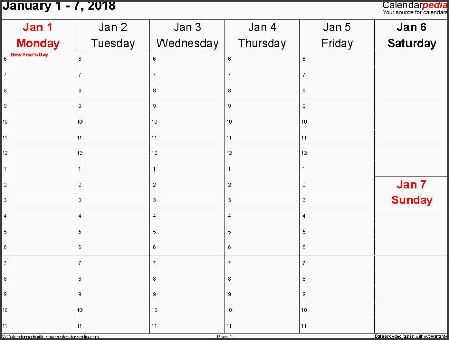 day planner template 2018
