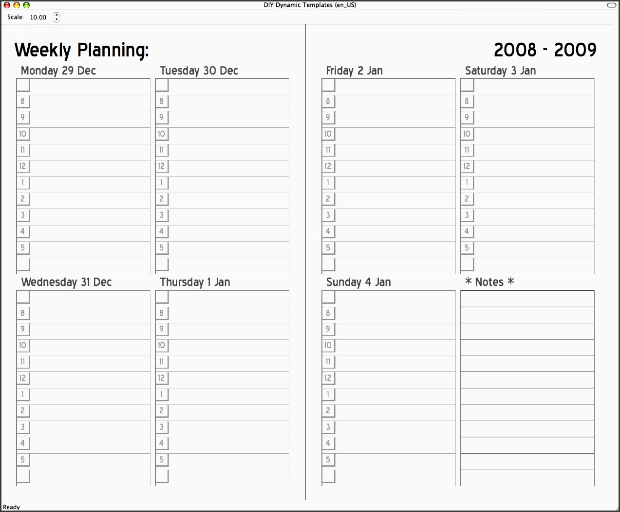 7 day calendar with times template 4