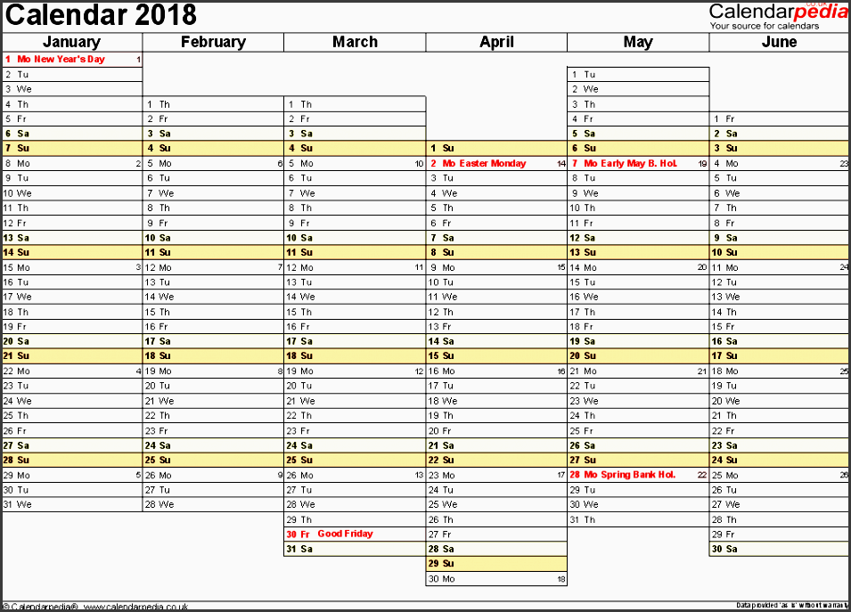 template 4 yearly calendar 2018 as excel template landscape orientation a4 2