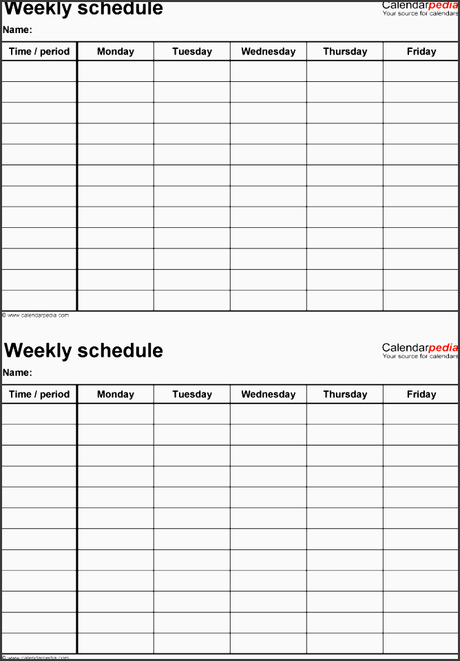 weekly schedule template for excel version 4 2 schedules on one page portrait