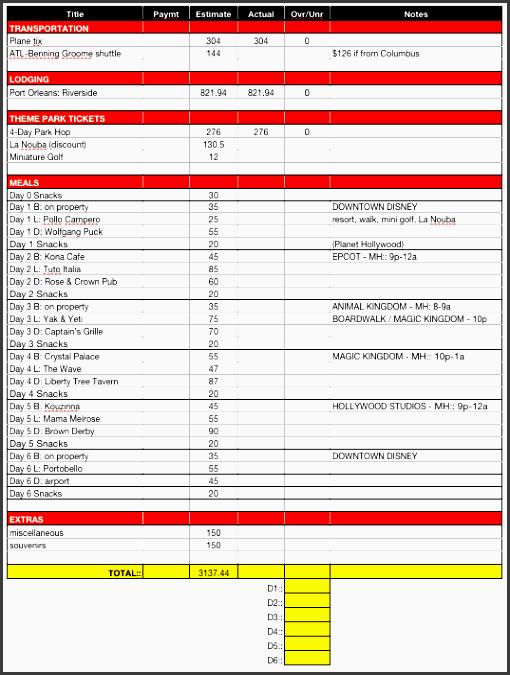 disney bud planning worksheet free printable