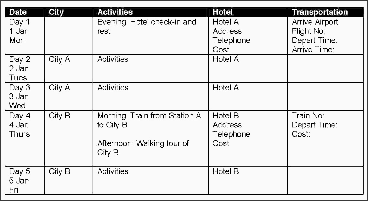 itinerary template word itinerary template 1