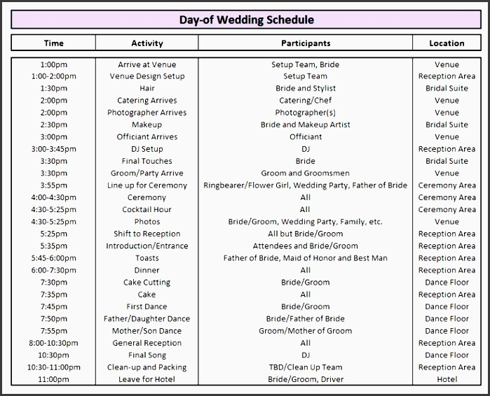 schedule itinerary