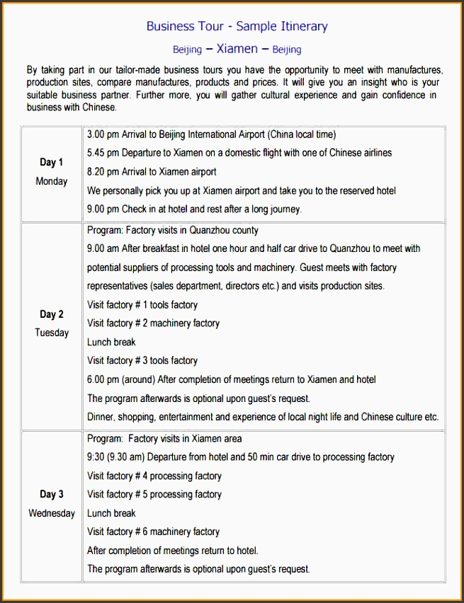 every business tour has a purpose a business itinerary template is an integration of all business tours and their corresponding reasons