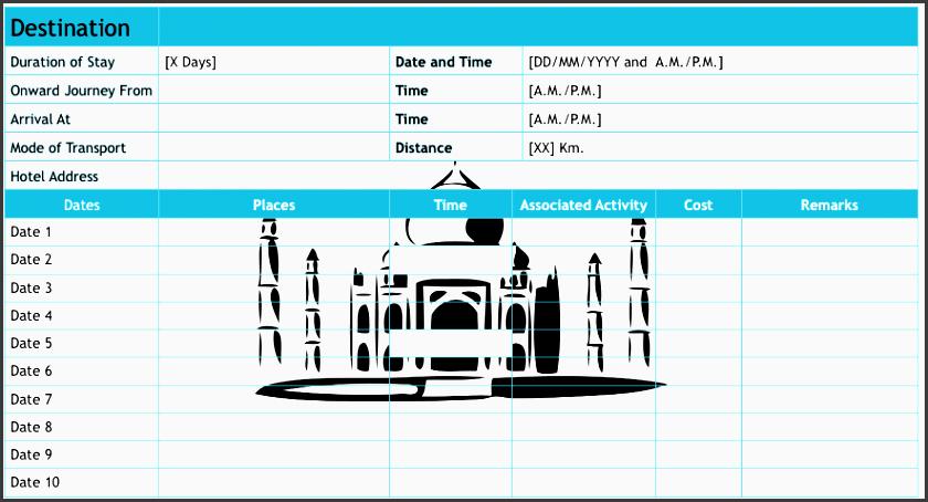trip planning sheet