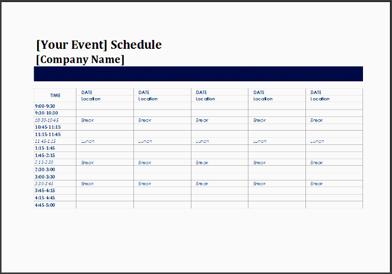 five day event schedule template