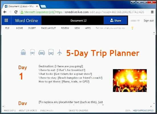 5 day trip planner template for word