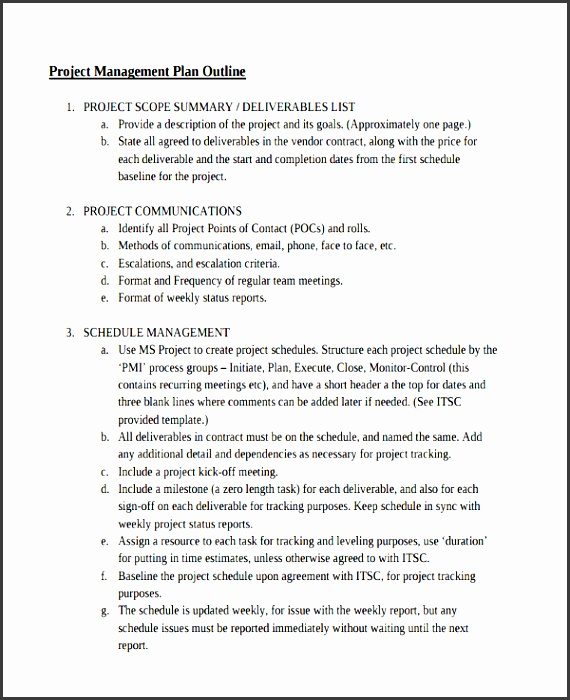 project management outline