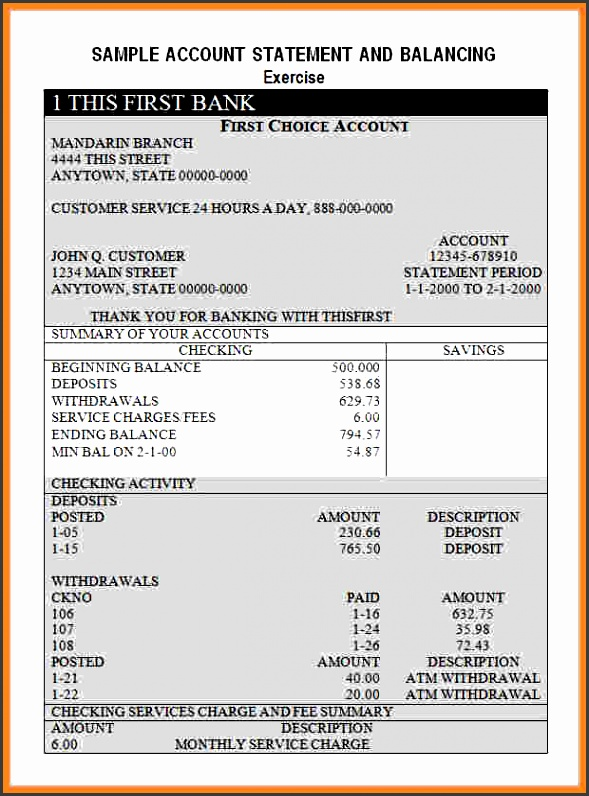 bank statement template word bank statement templates image 222