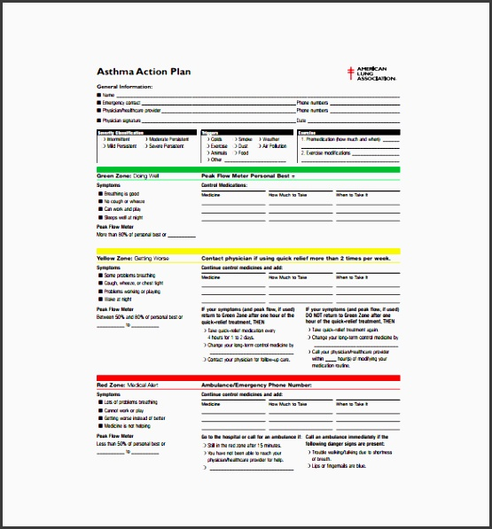 asthma action plan template has a neat design with blocks to tell the condition of the patient with plete study of the case you can fill the blocks of