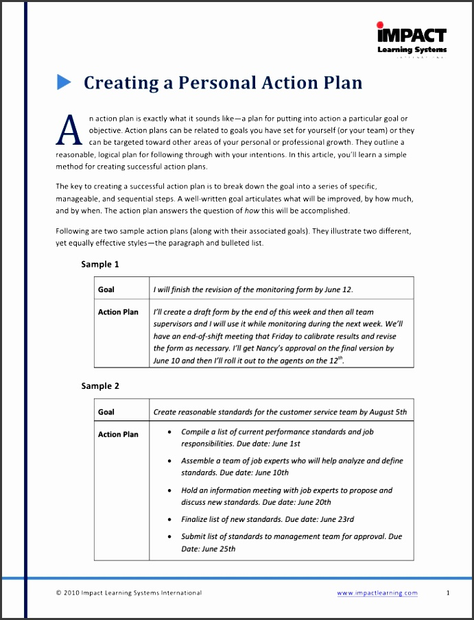 2 ï µ creating a personal action plan