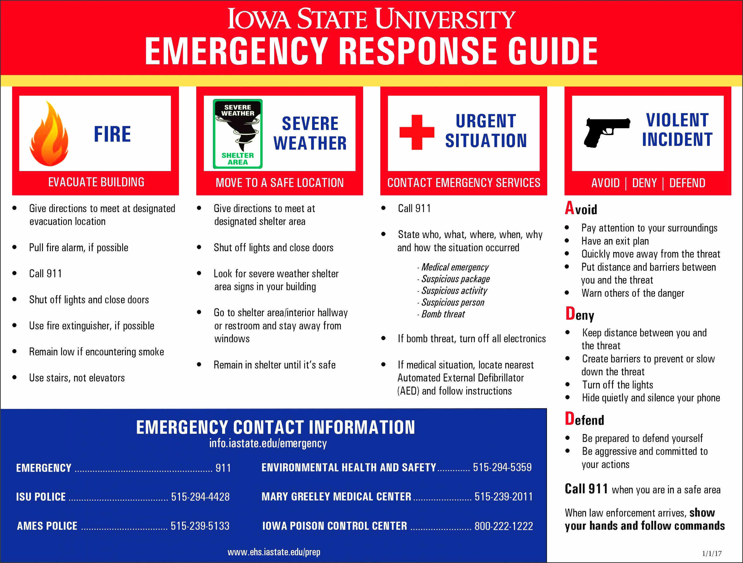 emergency response guide poster