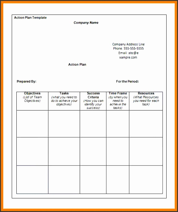 business action plan template word business action plan template free