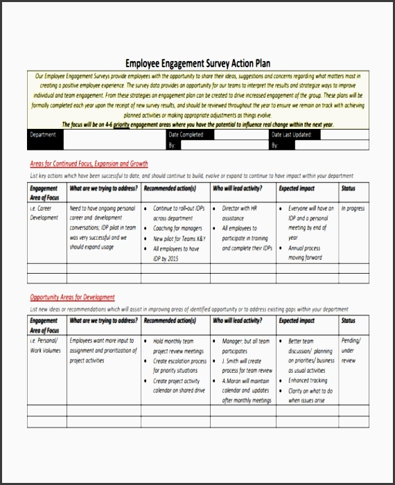 employee action plan template 8 free sample example format