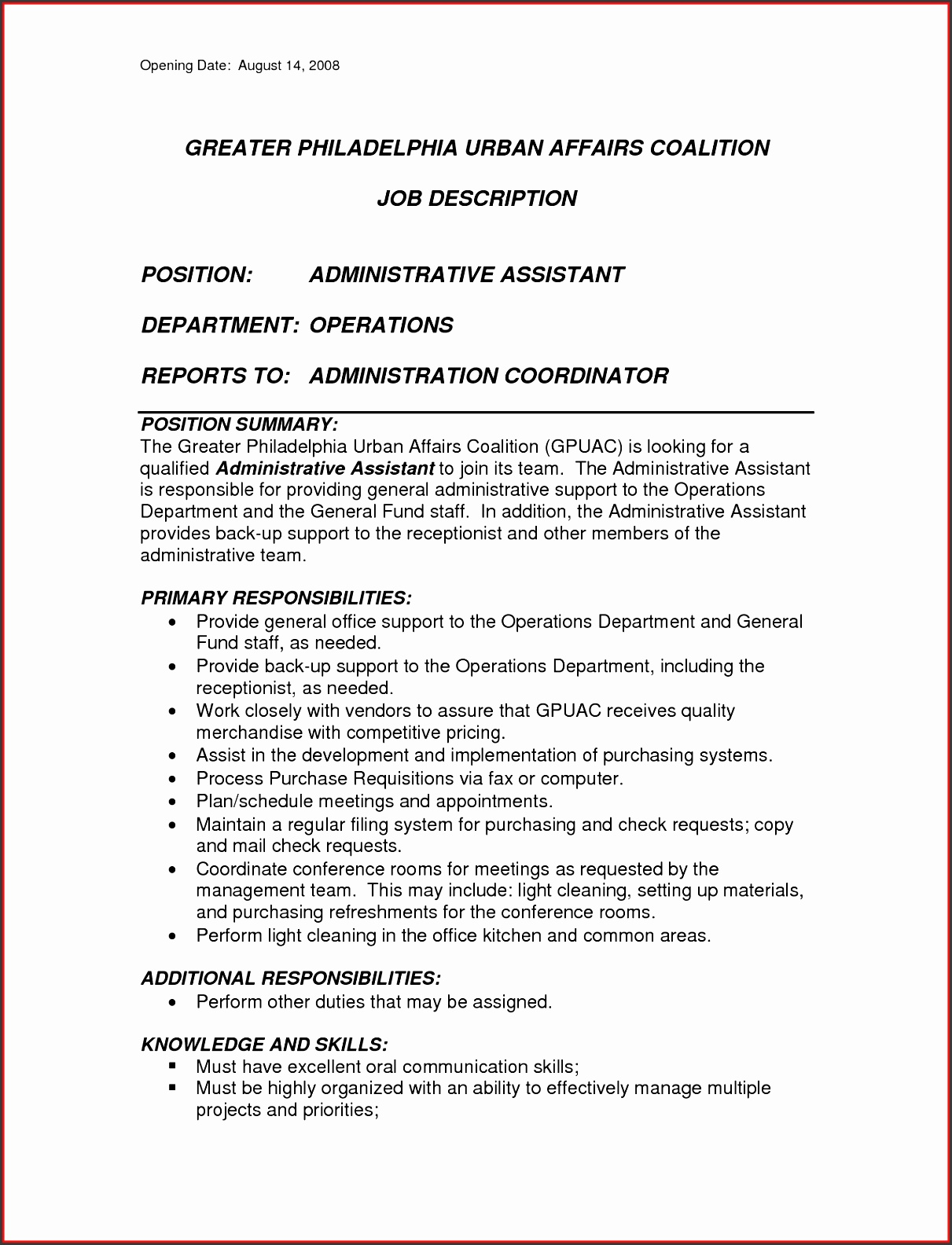 5 administrative job description template - Executive office administrator job description ...